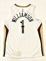 "ZION WILLIAMSON Autographed New Orleans Pelicans ""2019 #1 Draft Pick"" White Swingman Jersey FANATICS"