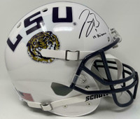 "JOE BURROW Autographed ""19 Heisman"" LSU White Schutt Full Size Helmet FANATICS"