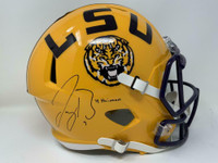 "JOE BURROW Autographed ""19 Heisman"" LSU Tigers Yellow Speed Full Size Helmet FANATICS"