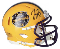 JOE BURROW Autographed LSU Tigers Nat'l Champs Logo Yellow Mini Helmet FANATICS