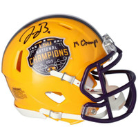 "JOE BURROW Autographed LSU Tigers Nat'l Champs Logo ""19 Champs"" Mini Helmet FANATICS"