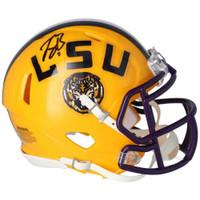 JOE BURROW Autographed LSU Tigers Yellow Speed Mini Helmet FANATICS