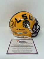 "JOE BURROW Autographed ""19 Heisman"" LSU Tigers Yellow Speed Mini Helmet FANATICS"