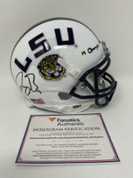 "JOE BURROW Autographed ""19 Champs"" LSU Tigers White Schutt Mini Helmet FANATICS"