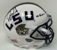 "JOE BURROW Autographed ""19 Heisman"" LSU Tigers White Schutt Mini Helmet FANATICS"
