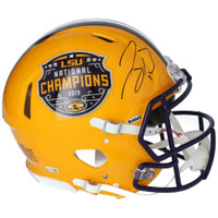 JOE BURROW Autographed LSU Tigers Nat'l Champs Authentic Yellow Speed Helmet FANATICS
