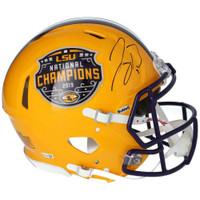 JOE BURROW Autographed LSU Tigers Nat'l Champs Authentic Yellow Speed Helmet FANATICS