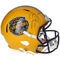 "JOE BURROW Autographed LSU Tigers Nat'l Champs Logo ""19 Champs"" Speed Helmet FANATICS"