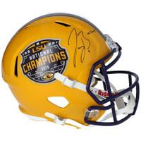 "JOE BURROW Autographed LSU Tigers Nat'l Champs Logo ""19 Champs"" Speed Helmet FANATICS"