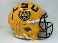 "JOE BURROW Autographed ""19 Champs"" LSU Tigers Yellow Speed Authentic Helmet FANATICS"