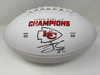 TRAVIS KELCE Signed Kansas City Chiefs Super Bowl LIV Champs White Panel Football FANATICS