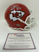 TRAVIS KELCE Autographed Kansas City Chiefs SB LIV Champ Logo Mini Speed Helmet FANATICS