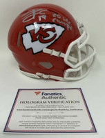 "TRAVIS KELCE Autographed Kansas City Chiefs ""SB LIV Champs"" Mini Speed Helmet FANATICS"