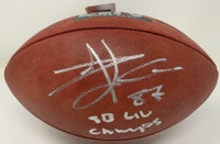 "TRAVIS KELCE Autographed Kansas City Chiefs ""SB LIV Champs"" Super Bowl Football FANATICS"