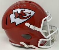 TRAVIS KELCE Autographed Kansas City Chiefs SB LIV Champs Full Size Speed Helmet FANATICS