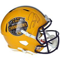 JOE BURROW Autographed LSU Tigers Nat'l Champs Logo Yellow Full Size Helmet FANATICS
