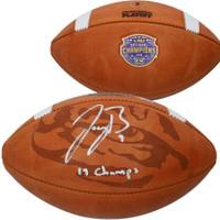"JOE BURROW Autographed LSU Tigers ""19 Champs"" Commemorative Football FANATICS"