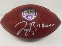 "JOE BURROW Autographed LSU Tigers ""19 Heisman"" Nike Game Model Football FANATICS"