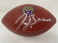 "JOE BURROW Autographed LSU Tigers ""19 Champs"" Nike Game Model Football FANATICS"