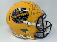 "JOE BURROW Autographed ""19 Champs"" LSU Tigers Champ Logo Authentic Helmet FANATICS"
