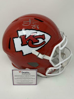 TRAVIS KELCE Signed Kansas City Chiefs SB LIV Champ Logo Full Size Speed Helmet FANATICS