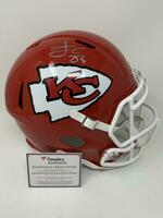 TRAVIS KELCE Signed Kansas City Chiefs SB LIV Champ Logo Full Size Speed Helmet FANATICS