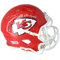 "DAMIEN WILLIAMS Autographed ""SB LIV Champs"" Kansas City Chiefs Mini Speed Helmet FANATICS"