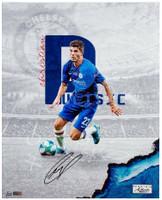 "CHRISTIAN PULISIC Autographed ""Chelsea FC"" 16""x20"" Photograph PANINI LE 122"