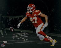 "TRAVIS KELCE Autographed Kansas City Chiefs 11"" x 14"" Spotlight Photograph FANATICS"
