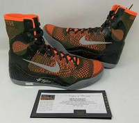 KOBE BRYANT Autographed Kobe IX Elite Orange Green Size 11 Shoes PANINI