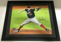 "STEPHEN STRASBURG Autographed Washington Nationals World Series 16"" x 20"" Framed Photograph FANATICS"