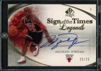 MICHAEL JORDAN Autographed Chicago Bulls Sign of the Times Legends UD Card LE 25/25