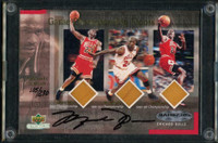 MICHAEL JORDAN Autographed Chicago Bulls 2000 Floor Relic Trading Card UDA LE 230