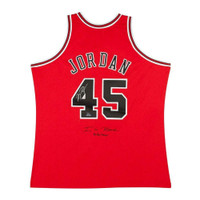 "MICHAEL JORDAN Autographed and Incribed Chicago Bulls 45 ""I'm Back"" Authentic 1995 Jersey UDA LE 145"