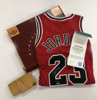 "MICHAEL JORDAN Autographed Chicago Bulls ""Final Floor"" Red Jersey UDA LE 230"