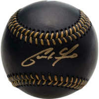 CHRISTIAN YELICH Autographed Milwaukee Brewers Black Leather Baseball FANATICS