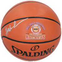 HAKEEM OLAJUWON Autographed Houston Rockets Logo Basketball FANATICS