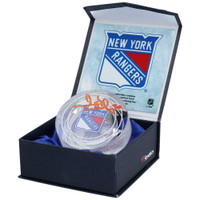 HENRIK LUNDQVIST Autographed New York Rangers Game Used Ice Crystal Puck Display FANATICS