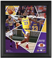 "LEBRON JAMES Los Angeles Lakers Team Used Basketball 15"" x 17"" Framed Collage LE 500"