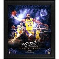 "LEBRON JAMES Facsimile Signature Los Angeles Lakers 15"" x 17"" Stars Of The Game Collage"
