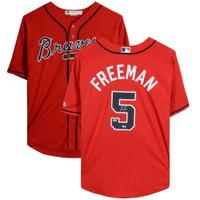FREDDIE FREEMAN Autographed Atlanta Braves Scarlet Majestic Jersey FANATICS