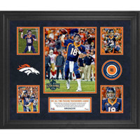 PEYTON MANNING Denver Broncos Framed Collage w/ Game Used Piece of Football