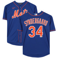 "NOAH SYNDERGAARD Autographed and Inscribed ""THOR"" New York Mets Blue Nike Jersey FANATICS"