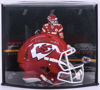 PATRICK MAHOMES Autographed Kansas City Chiefs Super Bowl Stat Speed Helmet Curve Display FANATICS LE 54