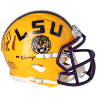 "JOE BURROW Autographed LSU Tigers ""19 Champs"" Yellow Mini Speed Helmet FANATICS"