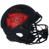 TRAVIS KELCE Autographed Kansas City Chiefs Eclipse Full Size Speed Helmet FANATICS