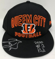 "JOE BURROW Autographed ""2020 #1 Pick"" Cincinnati Bengals Queen City Cap FANATICS"