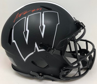 JONATHAN TAYLOR Autographed Wisconsin Badgers Eclipse Authentic Speed Helmet FANATICS
