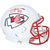 TRAVIS KELCE Autographed Kansas City Chiefs White Matte Authentic Speed Helmet FANATICS
