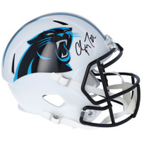 CHRISTIAN McCAFFREY Autographed Carolina Panthers White Matte Speed Helmet FANATICS
